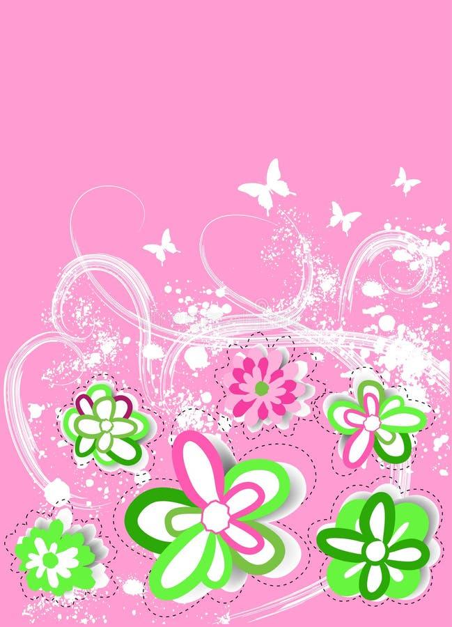 Retro- mit Blumenhintergrund vektor abbildung
