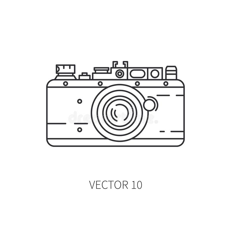 Retro 35mm film camera vector line icon. Summer travel vacation, tourism, camping. 1960s style. Old photography stock illustration