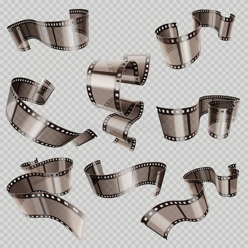 Retro 35mm foto and movie film roll vector set. Video tape part, illustration of cinematography multimedia tape photography royalty free illustration