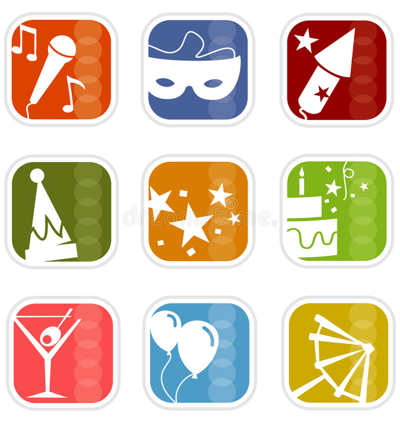 Free Retro Mod Party Mix Icons Stock Photo - 2808620