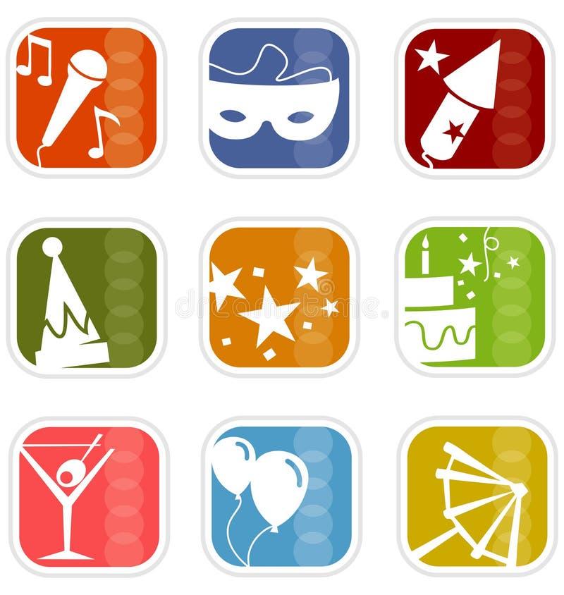 Retro Mod Party Mix Icons stock photo