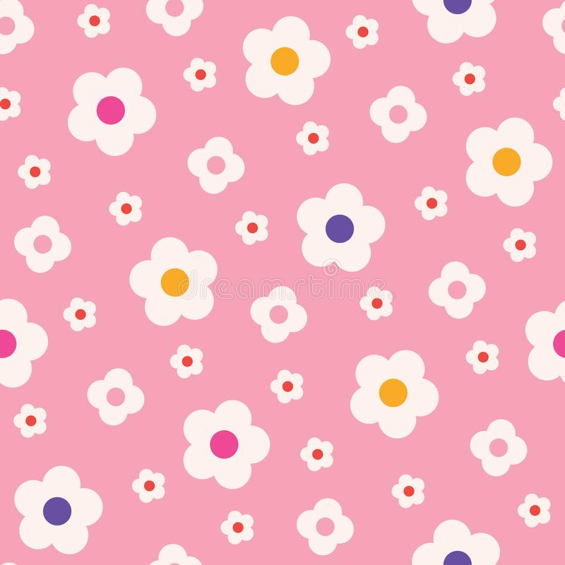 Retro Mod Style Simple Cream Daisy Flowers on Pink Background Vector Seamless Pattern. Clean Abstract Floral Print stock illustration