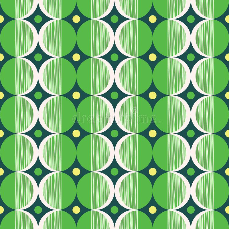 Retro Mod Style Vector Seamless Pattern with Green and Cream Circles on Dark Background. Stylish Geometric Graphic Print. Retro Mod Style Vector Seamless Pattern stock illustration