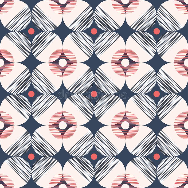 Retro Mod Style Vector Seamless Pattern with Textured Circles on Dark Blue Background. Stylish Geometric Graphic Print vector illustration