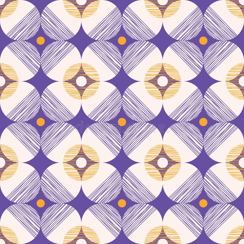 Retro Mod Style Vector Seamless Pattern with Textured Circles on Purple Background. Stylish Geometric Graphic Print. Retro Mod Style Vector Seamless Pattern with royalty free illustration