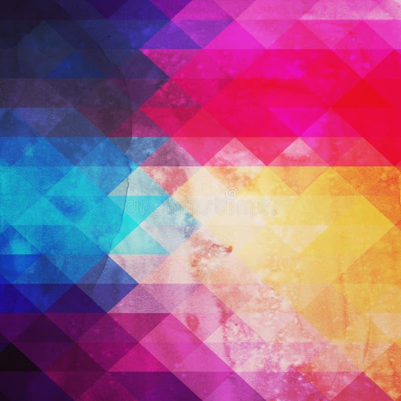 Retro modell av geometriska former. Färgrikt mosaikbaner. Geome royaltyfri illustrationer