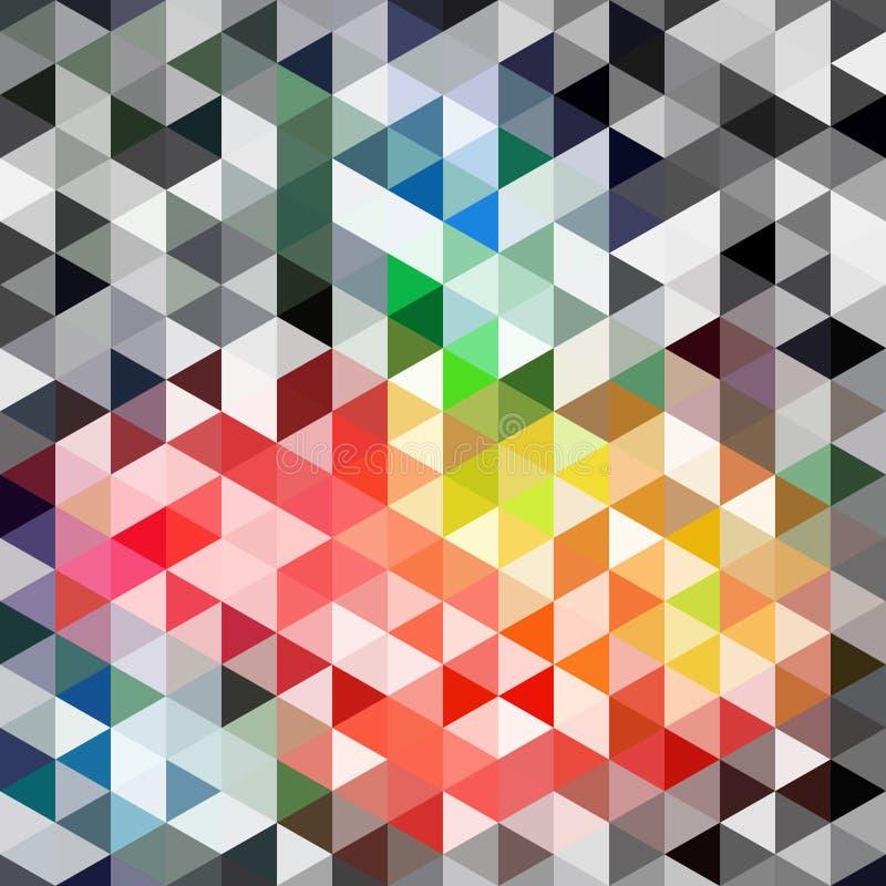 Retro modell för vektor av geometriska former Färgrik mosaikbackdr stock illustrationer