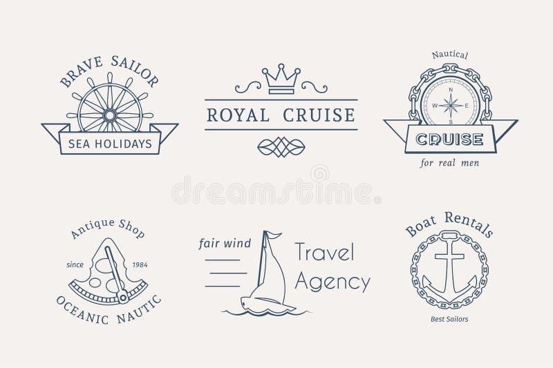 Retro modelli nautici di logo di vettore royalty illustrazione gratis