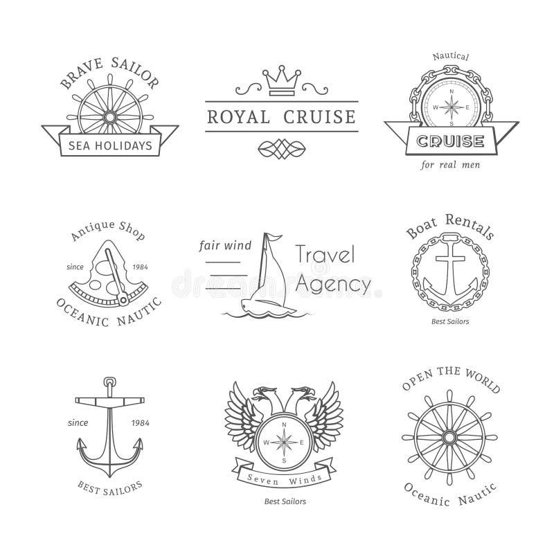 Retro modelli nautici di logo di vettore illustrazione di stock