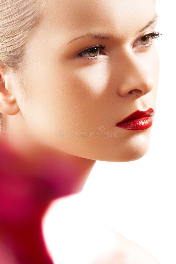 Retro modello della donna di fascino, trucco luminoso di modo immagini stock libere da diritti