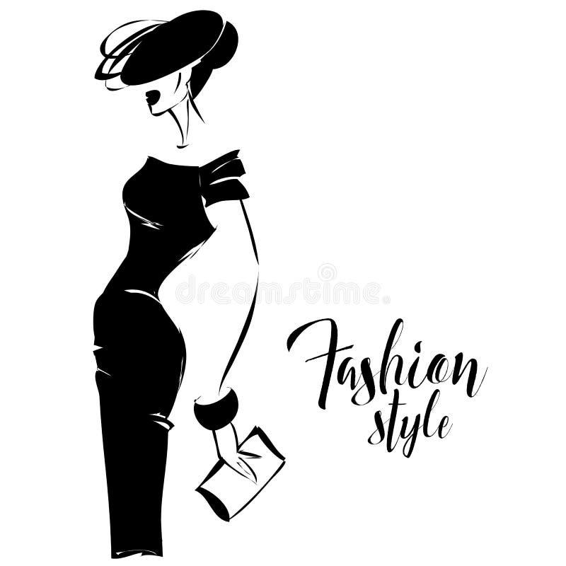 Retro modello di moda in bianco e nero nello stile di schizzo Disegnato a mano illustrazione di stock