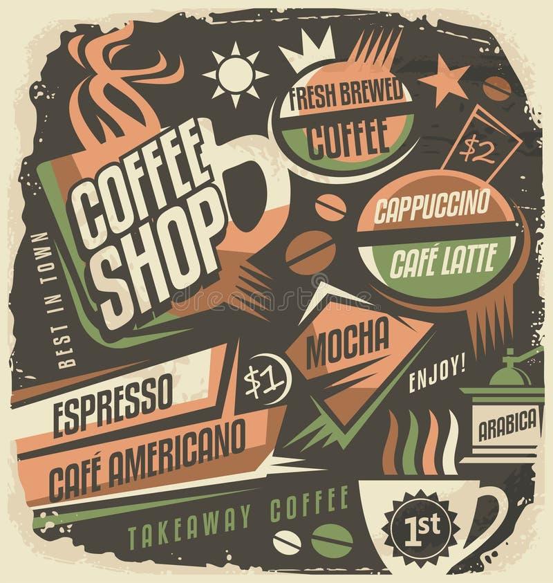 Retro modello di progettazione del menu del bordo di gesso per il caffè illustrazione vettoriale