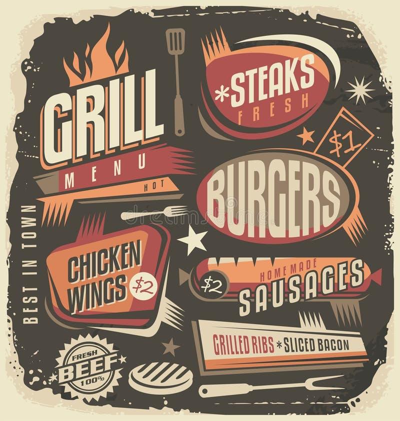 Retro modello di progettazione del menu della griglia illustrazione di stock