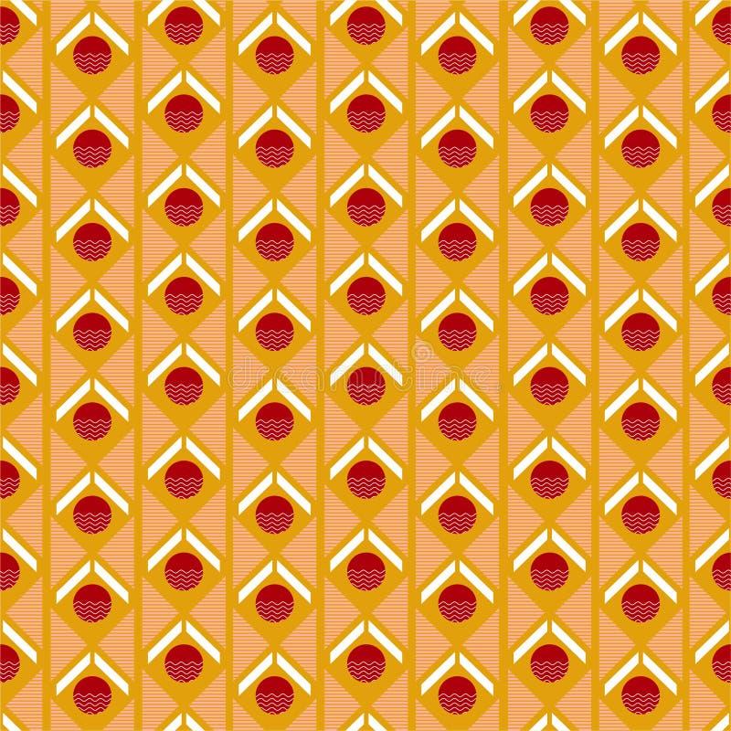 Retro modello di vettore della geometria Mescoli l'ornamento senza cuciture del cerchio, del triangolo e di forma della banda Ill royalty illustrazione gratis