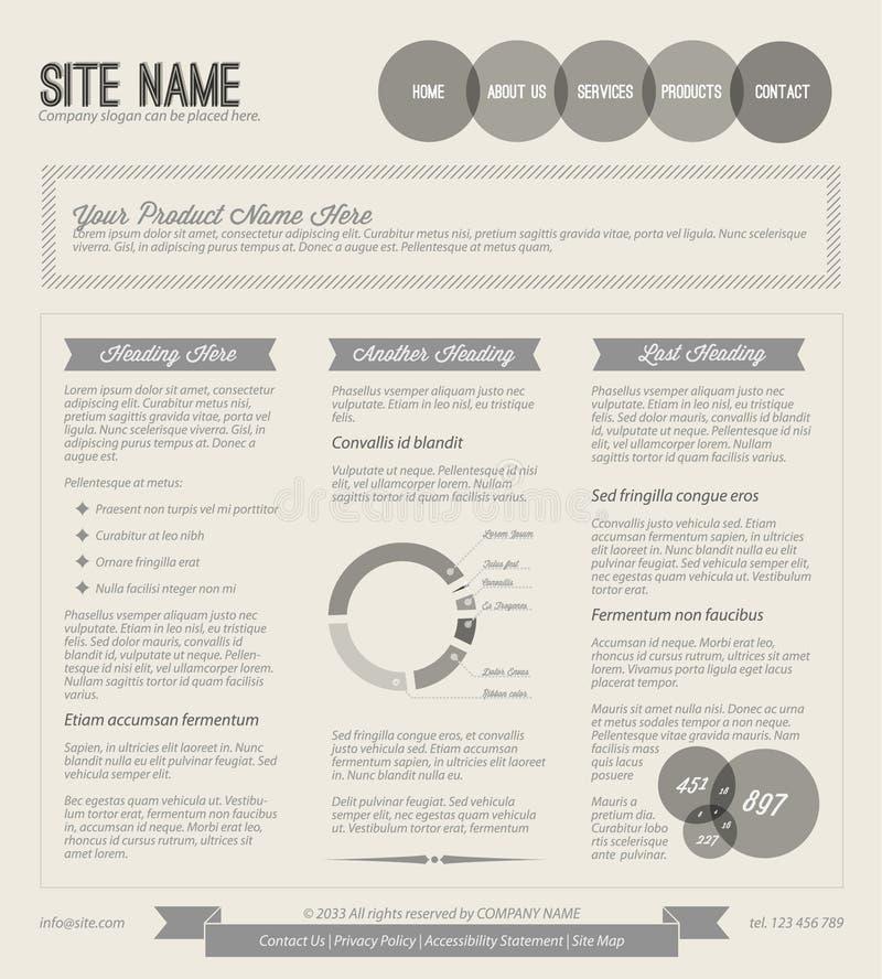 Retro modello di Web page di vettore in bianco e nero illustrazione di stock