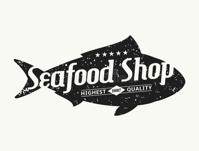 Retro modello disegnato dell'etichetta del negozio dei frutti di mare della siluetta del pesce royalty illustrazione gratis