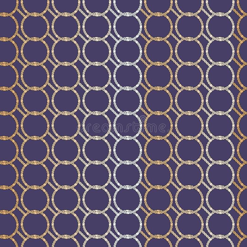 Retro modello geometrico astratto senza cuciture Cerchi di catena a maglia in bianco, in porpora e tonalità di giallo illustrazione di stock