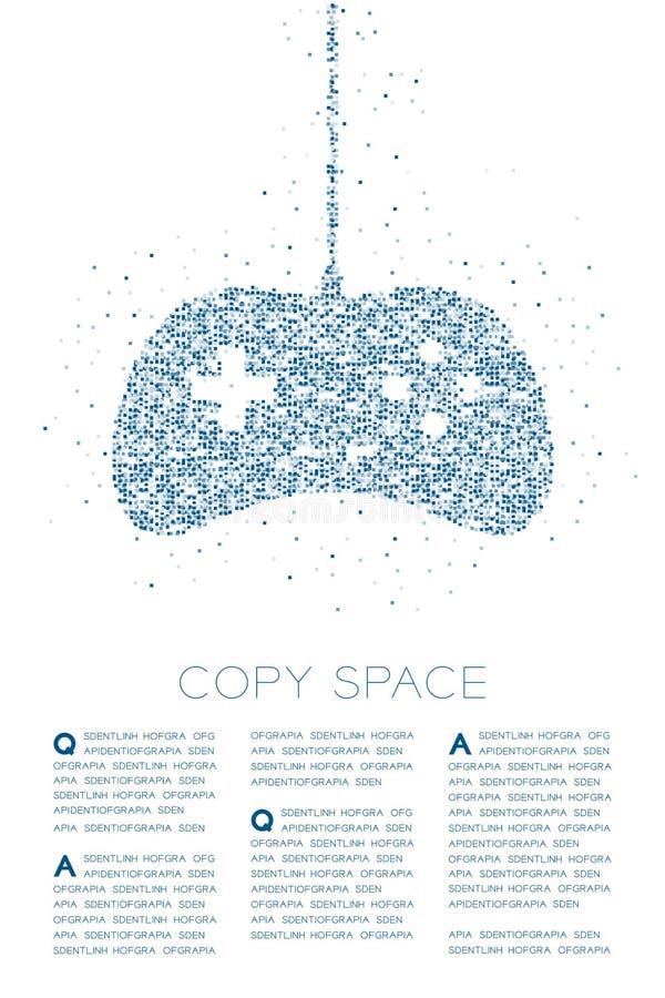 Retro modello geometrico del pixel della scatola quadrata della particella di forma del joypad o di Gamepad, illustrazione di col illustrazione di stock