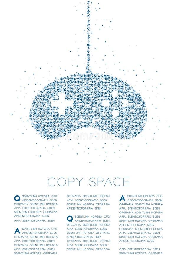 Retro modello geometrico del pixel della scatola quadrata della particella di forma del joypad o di Gamepad, illustrazione di col royalty illustrazione gratis