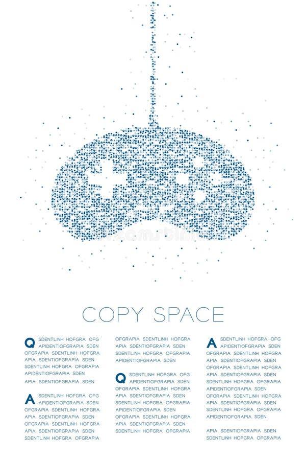 Retro modello geometrico del pixel del punto del cerchio della particella di forma del joypad o di Gamepad, illustrazione di colo royalty illustrazione gratis