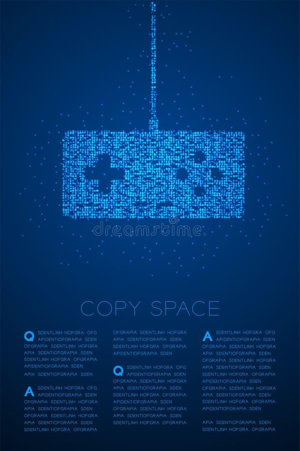 Retro modello geometrico del pixel del punto del cerchio di Bokeh della particella di forma del joypad o di Gamepad, colore blu d illustrazione di stock