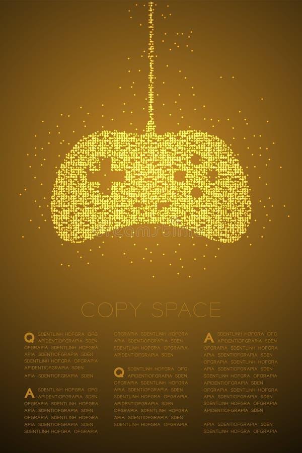 Retro modello geometrico del pixel del punto del cerchio di Bokeh della particella di forma del joypad o di Gamepad, colore dell' illustrazione di stock