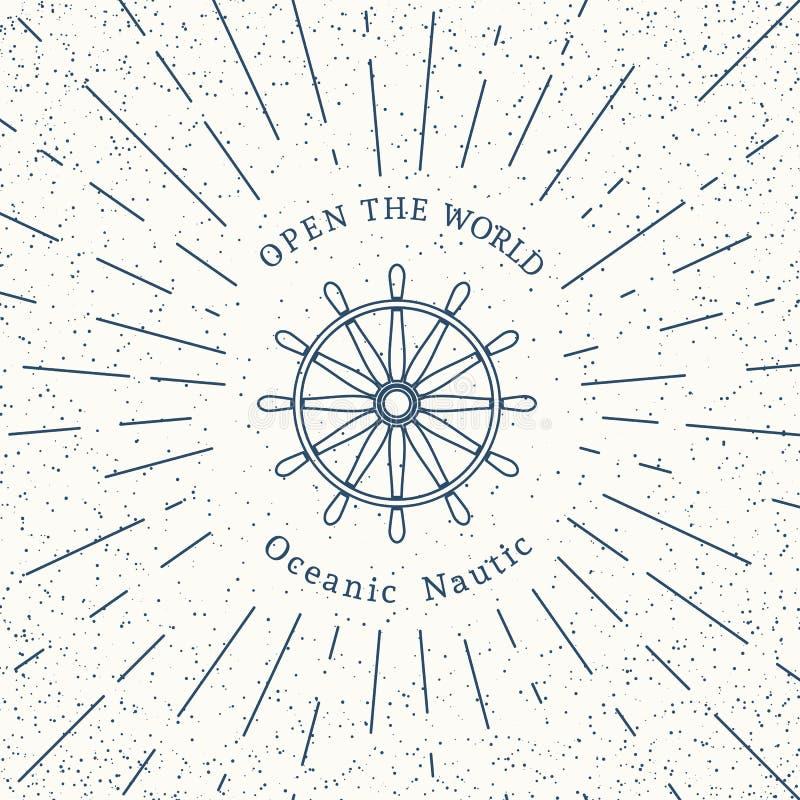 Retro modello nautico di logo di vettore royalty illustrazione gratis