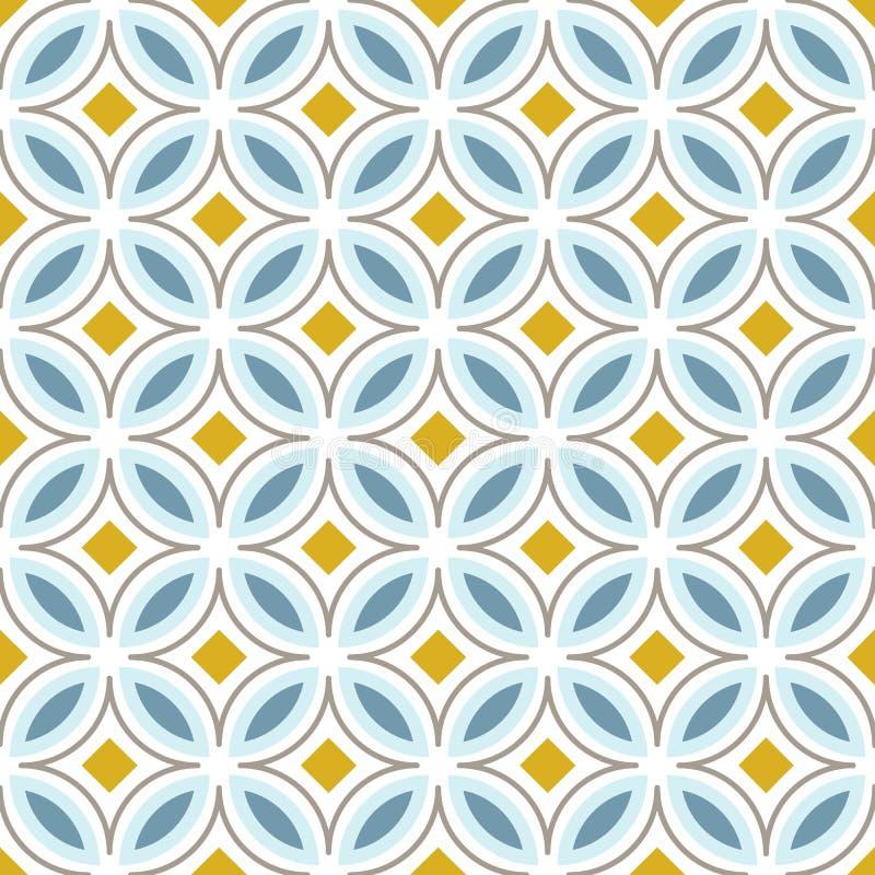 Retro modello senza cuciture astratto con i cerchi nello stile scandinavo Colori blu-chiaro e gialli Illustrazione di vettore illustrazione di stock