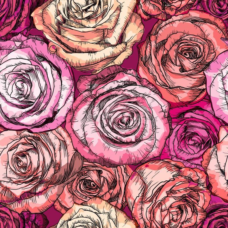 Retro modello senza cuciture con Rose Flowers illustrazione vettoriale