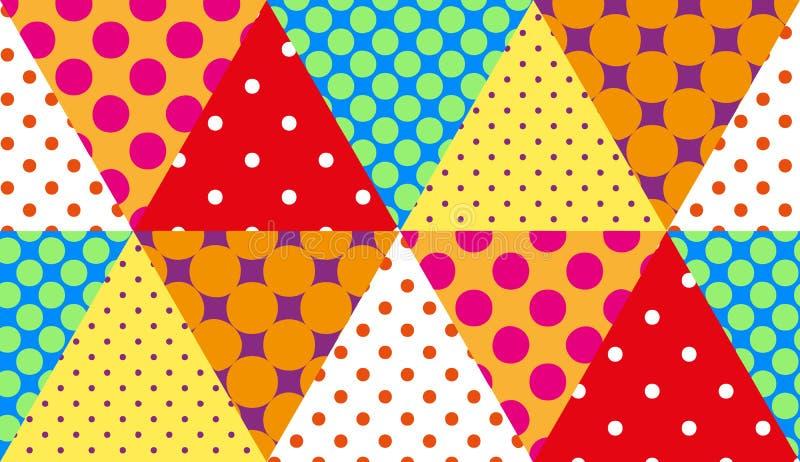 Retro modello senza cuciture del fondo della rappezzatura dei triangoli nello stile rustico Pois variopinti sul contesto dei tria royalty illustrazione gratis