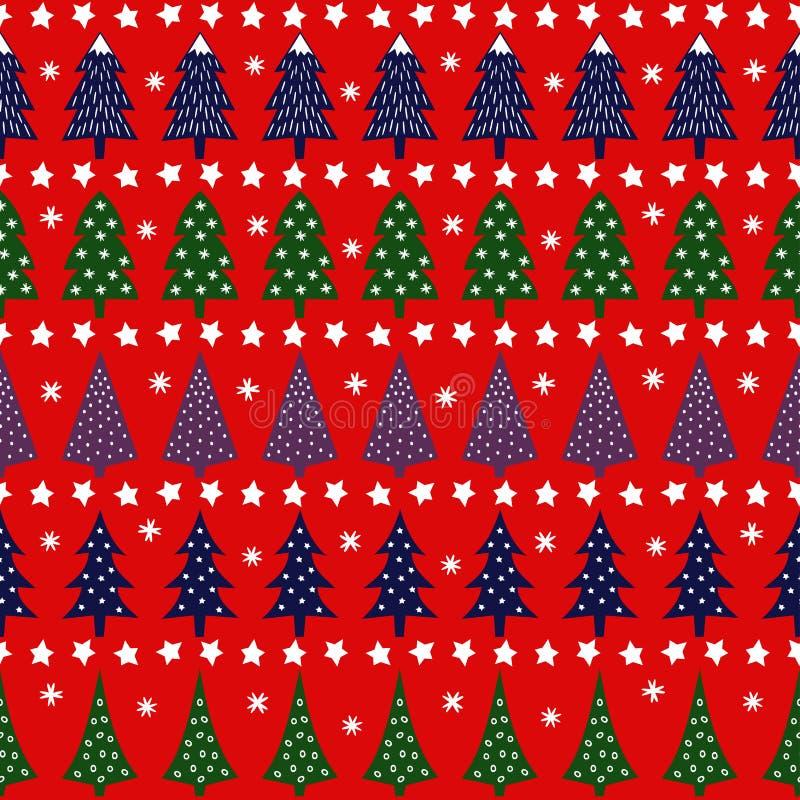 Retro modello senza cuciture di Natale - alberi vari, stelle e fiocchi di neve di natale royalty illustrazione gratis