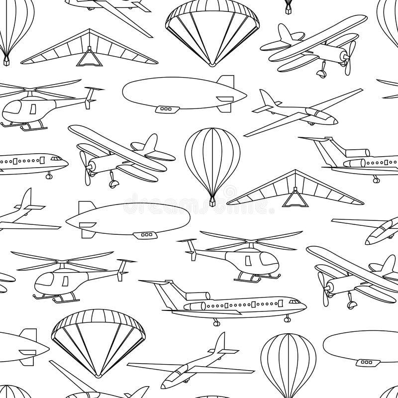 Retro modello senza cuciture di viaggio dei palloni e degli aerei illustrazione vettoriale
