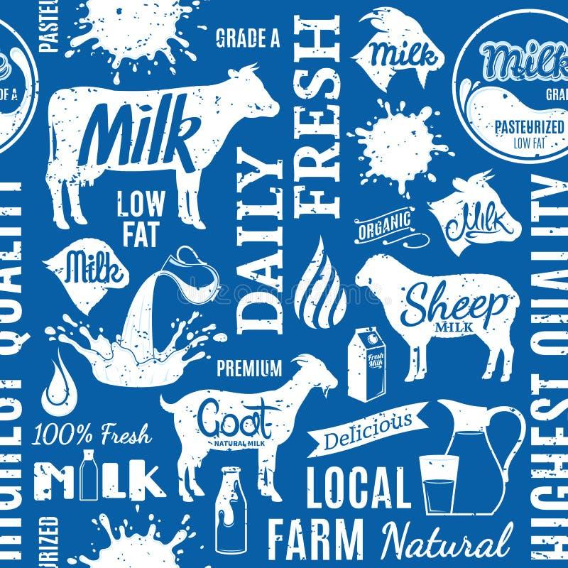 Retro modello senza cuciture disegnato o backgro del latte tipografico di vettore illustrazione vettoriale