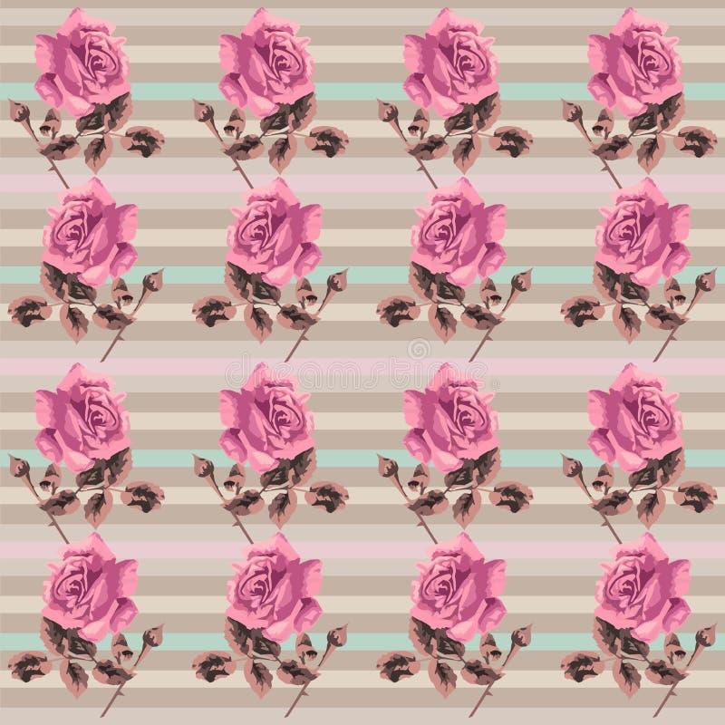 Retro modello senza cuciture floreale di estate (rose) nell'eleganza misera di stile, Provenza, boho illustrazione vettoriale