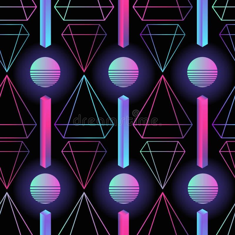 Retro modello senza cuciture futuristico alla moda con i cerchi colorati, le bande ed i poligoni di pendenza su fondo nero illustrazione vettoriale