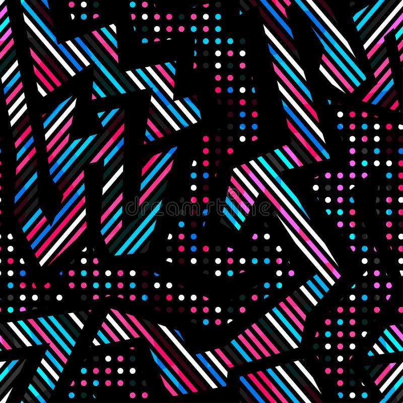 Retro modello senza cuciture geometrico al neon illustrazione vettoriale