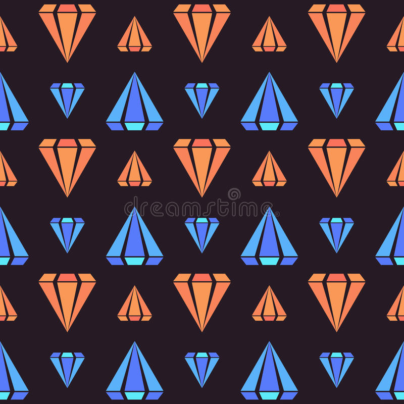 Retro modello senza cuciture scuro con le forme arancio e blu del diamante illustrazione vettoriale