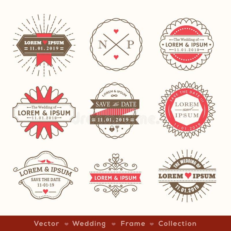 Retro modern design för emblem för ram för hipsterbrölloplogo royaltyfri illustrationer