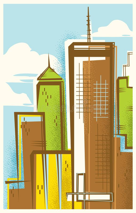 Retro-Modern Illustration of Atlanta, Georgia stock photos
