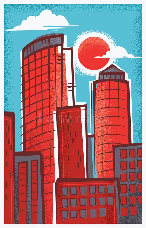 Retro-Modern Illustration of Boston, Massachusetts stock photography