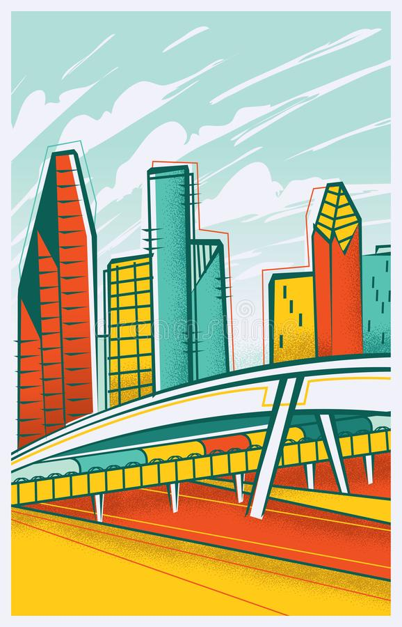 Retro-Modern Illustration of Houston, Texas stock images