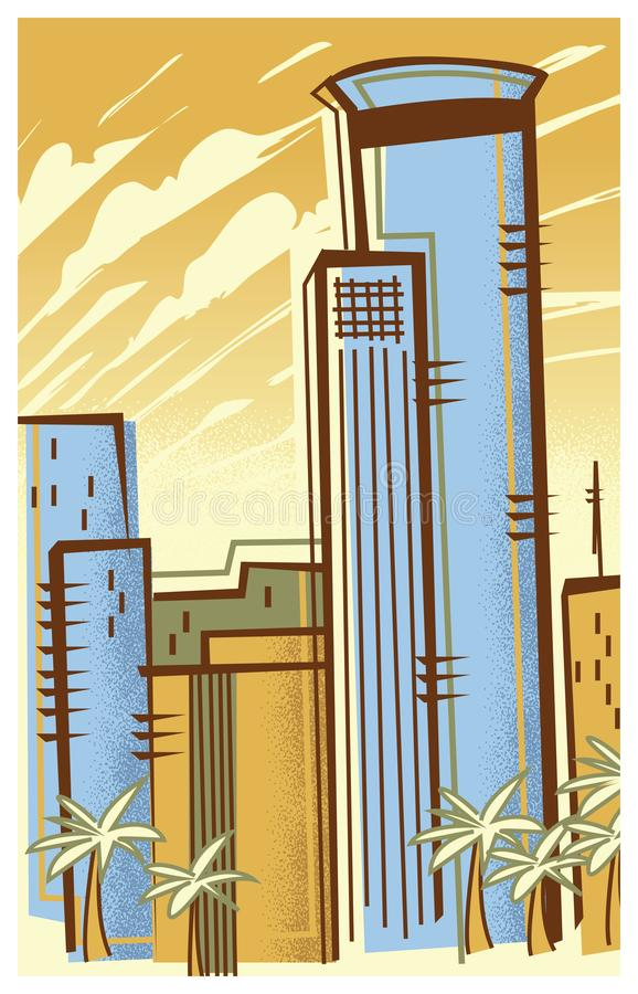 Retro-Modern Illustration of the Skyline of Tel Aviv. A retro-modern illustration of the city of Tel Aviv in Israel, created with vintage stippling and color stock illustration