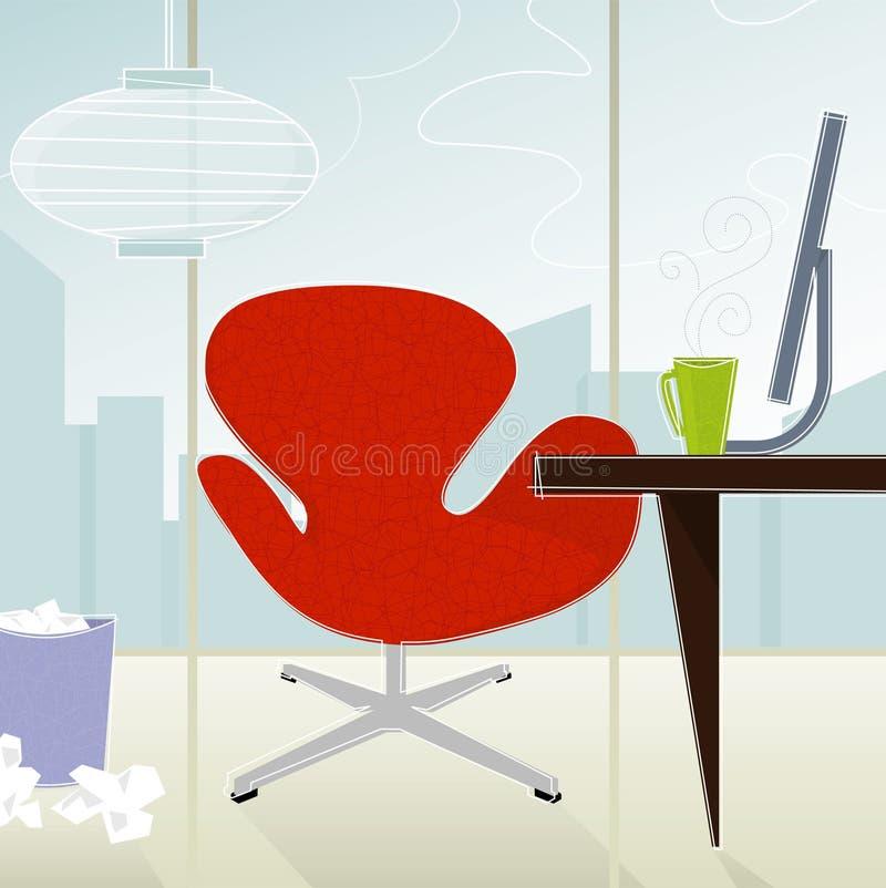 Retro--Modernes Büro (Vektor) lizenzfreie abbildung