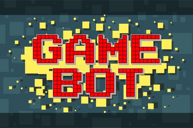 Retro modig botknapp för rött PIXEL för videospel stock illustrationer