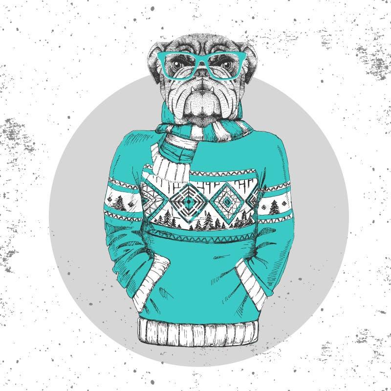 Retro modniś mody zwierzęcy buldog ubierał up w pulowerze royalty ilustracja