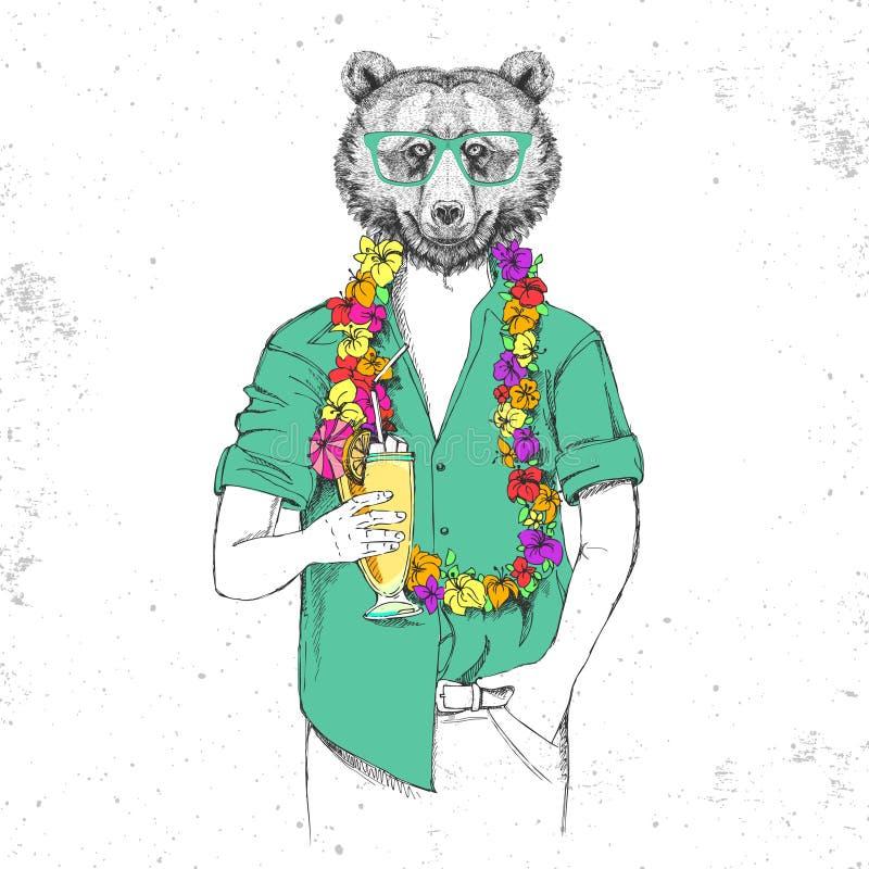 Retro modnisia zwierzęcia niedźwiedź z zwrotnika koktajlem ilustracja wektor