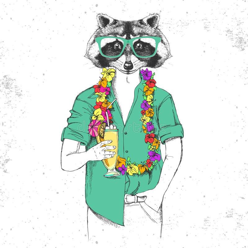 Retro modnisia zwierzęcy szop pracz z zwrotnika koktajlem ilustracja wektor