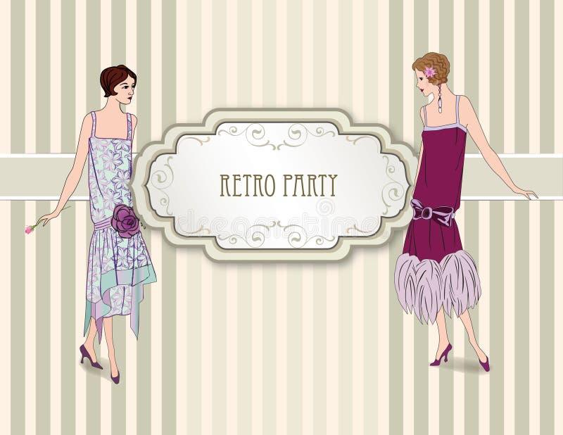Retro mody tło. Kobieta na przyjęciu (1930s projektują) royalty ilustracja