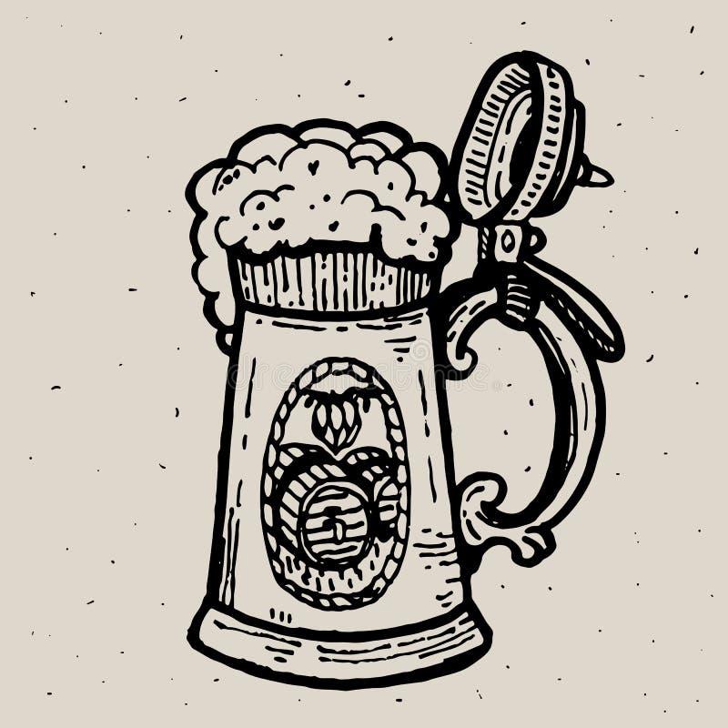 Retro mok van het stijlbier of glasgravure Lokale brouwerij Uitstekende vectorgravureillustratie voor Web, affiche, etiket vector illustratie