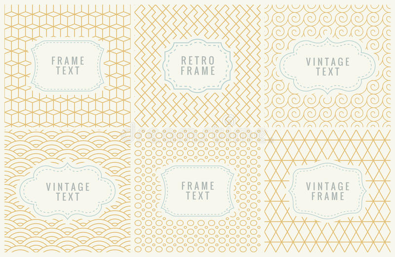 Retro Mono Line Frames with place for Text. Design Template, Labels, Badges on Seamless Geometric Patterns. Minimal. Retro Mono Line Frames with place for Text royalty free illustration